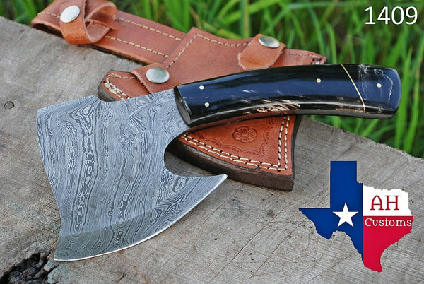 Hand Made Damascus Art Hunting Cleaver Chopper Axe Knife With Buffalo Horn Handle AH-1409
