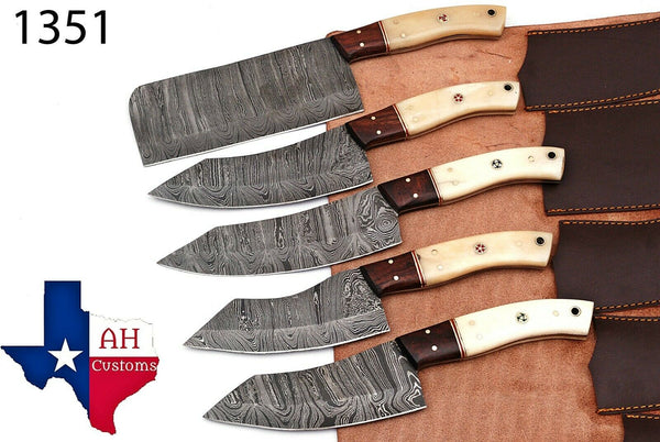 5 Pieces Hand Forged Damascus Steel Chef Kitchen Knives Set With Bone & Wood Handle AH-1351