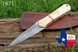 Hand Forged Damascus Steel Dagger Boot Knife With Buffalo Bone Handle & Brass Bolster AH-1471