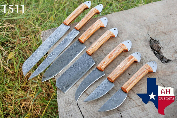 7 Pieces Hand Forged Damascus Steel Chef Kitchen Knife Set With Stained Wood Handle  AH-1511