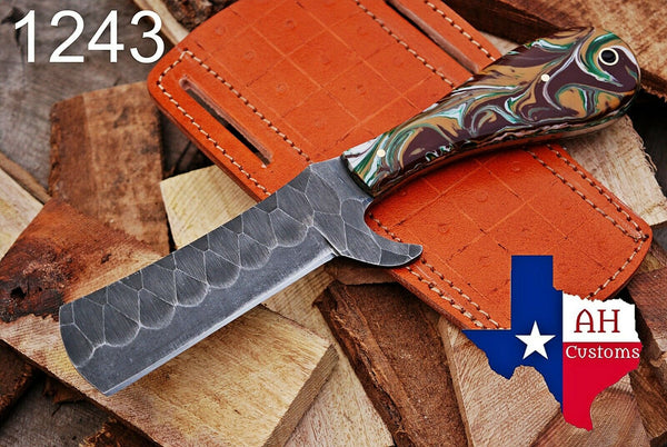 Hand Forged Damascus Steel Bull Cutter/Cowboy Knife With Risen Handle AH-1243