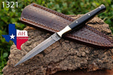 Hand Forged Damascus Steel Dagger Throwing Boot Knife With Horn Handle & Brass Bolster AH-1321