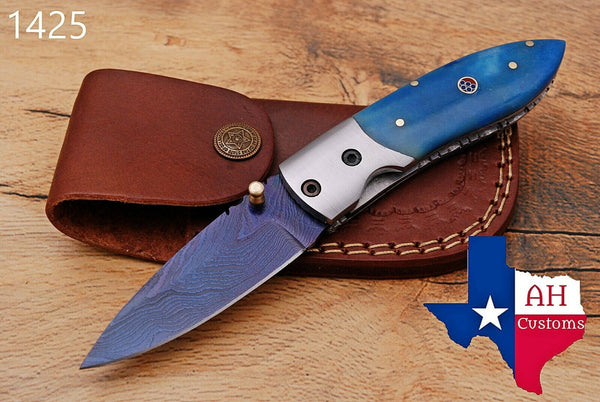 Custom Hand Forged Damascus Steel Hunting Folding Knife With Buffalo Bone Handle AH-1425