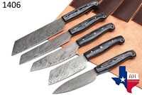 5 Pieces Hand Forged Damascus Steel Chef Kitchen Knives Set With Wood Handle AH-1406