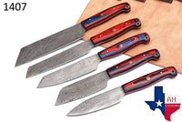 5 Pieces Hand Forged Damascus Steel Chef Kitchen Knives Set With Wood Handle AH-1407