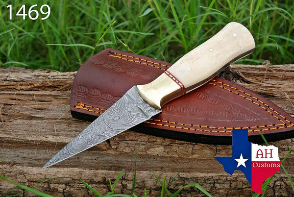 Hand Forged Damascus Steel Dagger Boot Knife With Buffalo Bone Handle & Brass Bolster AH-1469