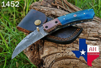 Custom Hand Forged Damascus Steel Folding Knife With Buffalo Bone Handle & Copper Bolster AH-1452