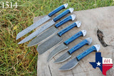 7 Pieces Hand Forged Damascus Steel Chef Kitchen Knife Set With Stained Wood Handle  AH-1514