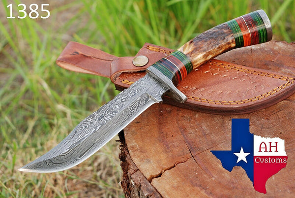 Hand Forged Damascus Steel Hunting Knife With Stag Handle And Damascus Guard AH-1385