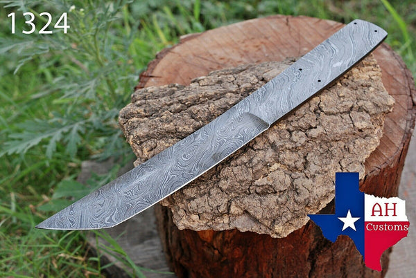 Hand Forged Damascus Steel Tanto Blank Blade Hunting Knife With Brass Bolster AH-1324