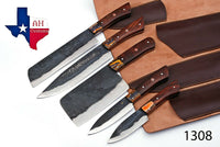 5 Pieces Hand Forged Railroad Spike Carbon Steel Chef Kitchen Knife Set With Rose Wood Handle AH-1308
