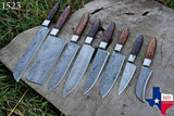 8 Pieces Hand Forged Damascus Steel Chef Kitchen Knife Set With Wood Handle  AH-1523