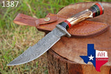 Hand Forged Damascus Steel Hunting Knife With Stag Handle And Damascus Guard AH-1387