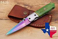 Custom Hand Forged Damascus Steel Hunting Folding Knife With Buffalo Bone Handle AH-1426