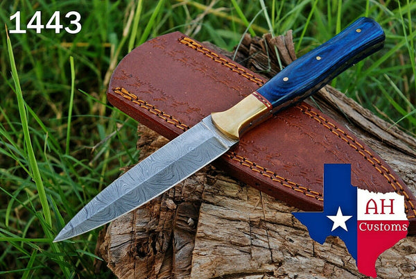 Hand Forged Damascus Steel Dagger Throwing Boot Knife With Stained Wood Handle & Brass Bolster AH-1443