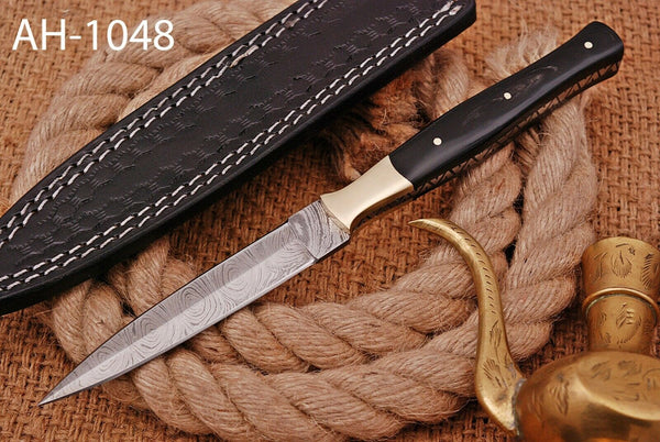 Hand Forged Damascus Steel Dagger Throwing Boot Knife With Horn Handle & Brass Bolster AH-1048
