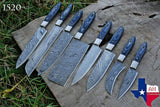 8 Pieces Hand Forged Damascus Steel Chef Kitchen Knife Set With Stained Wood Handle  AH-1520