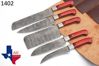 5 Pieces Hand Forged Damascus Steel Chef Kitchen Knives Set With Wood Handle AH-1402