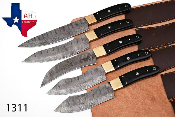 5 Pieces Hand Forged Damascus Steel Chef Kitchen Knife Set With Horn & Brass Bolster Handle AH-1311