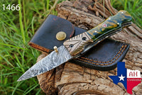 Hand Forged Damascus Steel Folding Knife With Risen Handle & Copper Bolster AH-1466