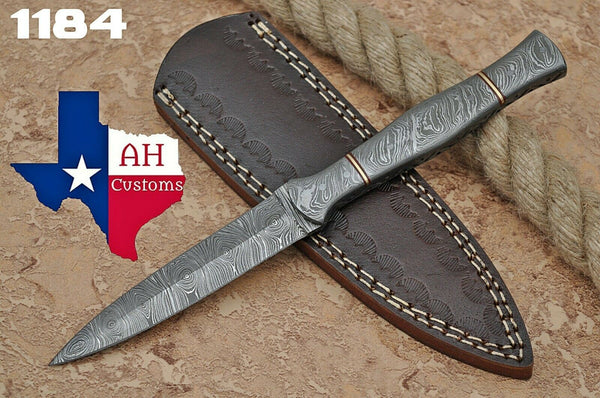 Hand Forged Damascus Steel Dagger Throwing Boot Knife With Damascus Handle AH-1184