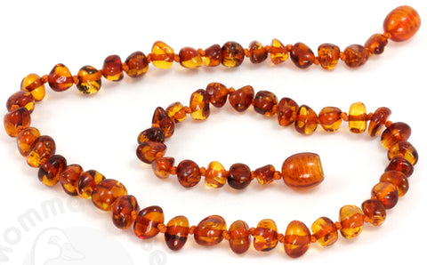Momma Goose Baby Amber Necklace Baroque, S, Cognac