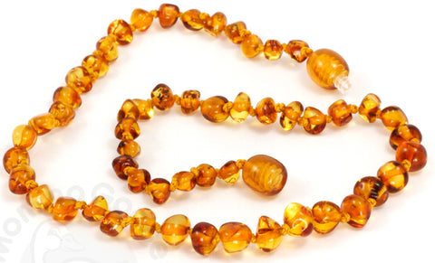Momma Goose Baby Amber Necklace Baroque, S, Honey