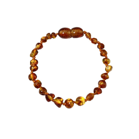 Momma Goose Baby Amber Bracelet, 5.5 inches, Cognac