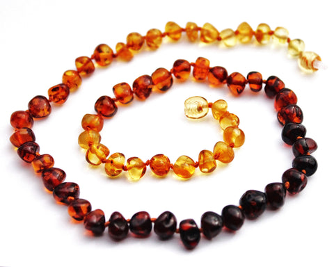 Momma Goose Adult Amber Necklace Baroque, 18, Rainbow