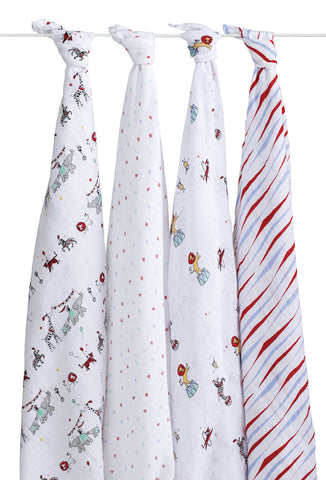 Aden + Anais Classic Swaddle, 4 pack, Vintage Circus