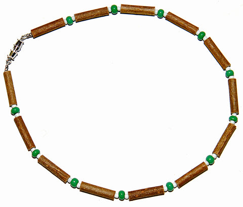 Momma Goose Hazelwood Baby Necklace, 13, Green/White Beads