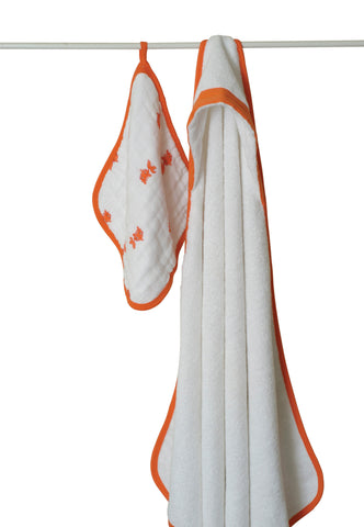 Aden + Anais Classic Hooded Towel and Washcloth Set, Splish Splash