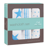 Aden + Anais Classic Washcloth Set, Fluro Blue