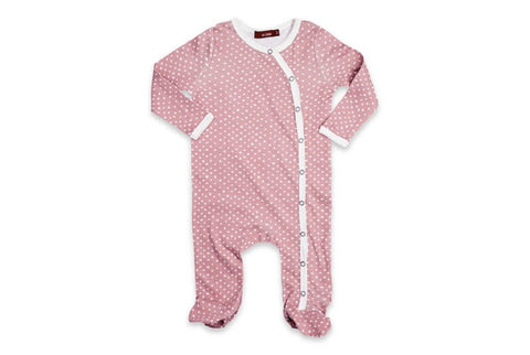 Milk Barn L/S Footed Romper, 3-6 Months, Rose/Ivory Polka