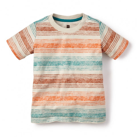 Tea Collection Aracar Striped Tee, Small, Satsuma