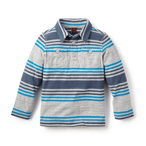 Tea Collection Guarani Stripe Polo, XS, STORM GREY HEATHER