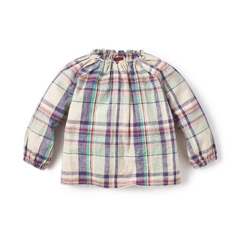 Tea Collection Rocio Plaid Baby top, 18-24M, Feather