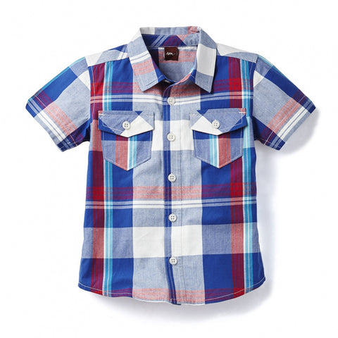 Tea Collection Brahma Plaid Beach Shirt, 4, Astral