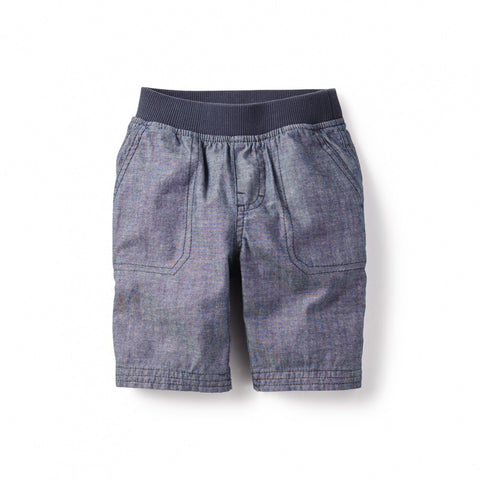 Tea Collection Patch Pocket Shorts, 3, Blue Chambray