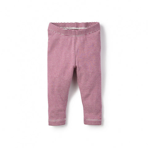 Tea Collection Stripe Baby Leggings, 12-18M, Magenta