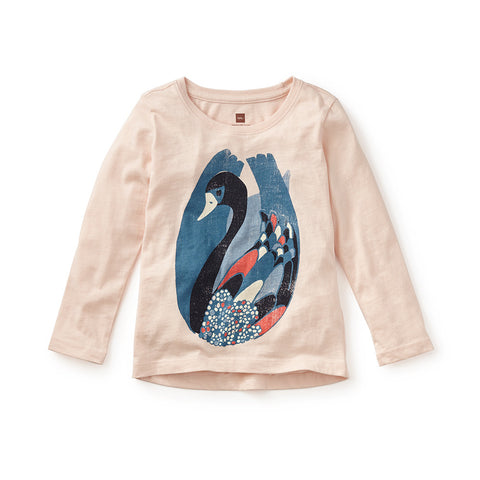 Tea Collection Chiya Swan Graphic Tee, XS, Soft Peach