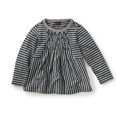 Tea Collection Izakaya Striped Top, XS, Med Heather Grey