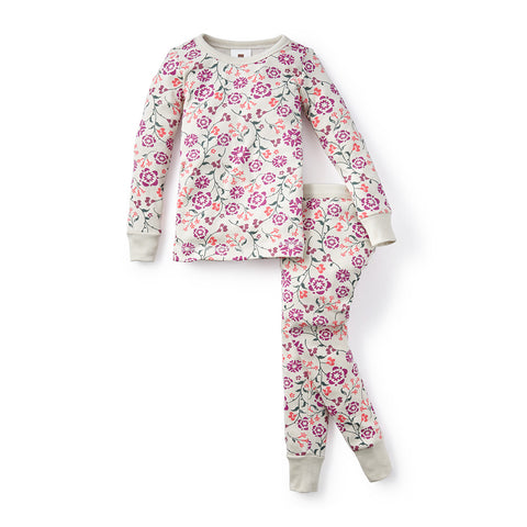 Tea Collection Blooming Jasmine Pajamas, 4, Chalk