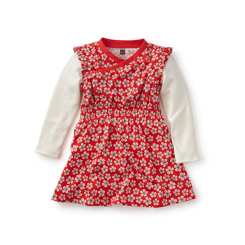 Tea Collection Sora Wrap Neck Baby Dress, 3_6, Fiery Red