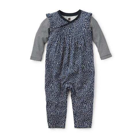Tea Collection Minako Wrap Neck Romper, 18_24, Heritage Blue