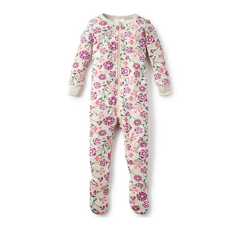 Tea Collection Blooming Jasmine Footd Pajamas, 12_18, Chalk