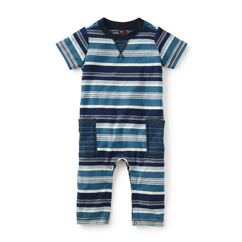 Tea Collection Daiki Striped Cargo Romper, 0_3, Rain
