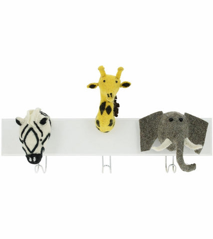 Fiona Walker Jungle Animal 3 Head Hook-Elephant, Zebra, Giraffe