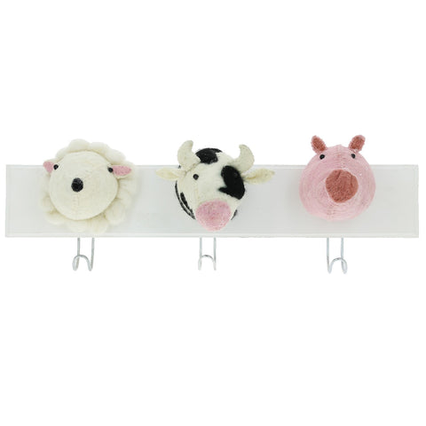 Fiona Walker Farm Animal 3 Head Hook-Cow, Sheep, Pig