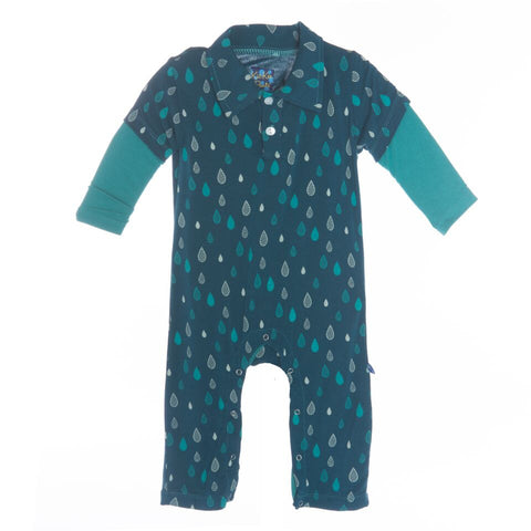 Kickee Pants Print Long Sleeve Polo Romper, 6-12 Months, Peacock Rain Drops